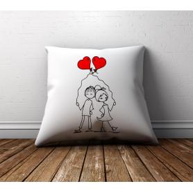 Coussin personnalisé couple avec ballon